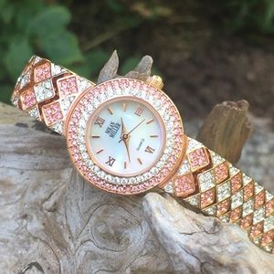 Nolan Miller Rose Gold/Gemmed Clear & Pink Watch